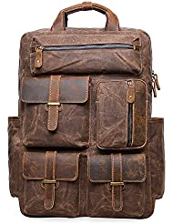 ALTOSY Vintage Canvas Leather Backpack Water Resistant Casual Daypack Laptop Bag