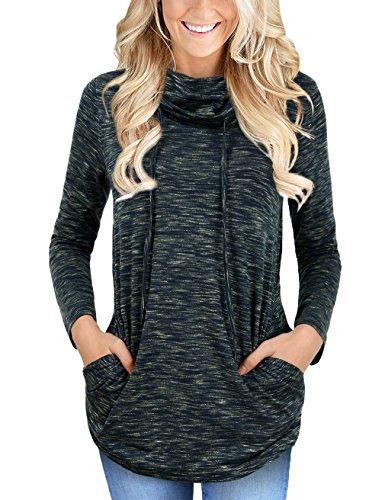 (Faddare Women's Funnel Neck Tunic Sweatshirt,Space Dye Sweater,Black Green S)