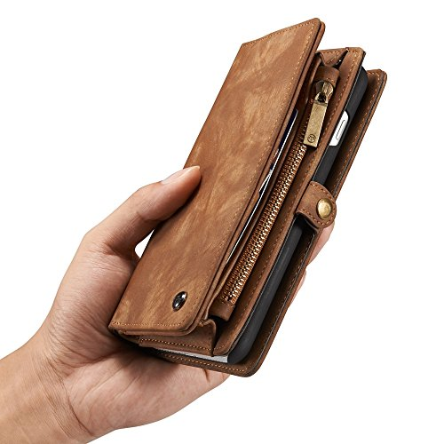 Magnetic X Leather Case 7 With Case Hard Wallet Case 8 7 Zipper Premium Phone Brown 4 Detachable Colors Plus iPhone 8 Flip Wallet Plus Cover rHfIqHEw