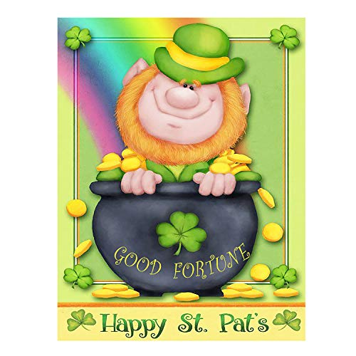 - Happy St Patrick's Day Irish Leprechaun Good Fortune Double Sided House Flag Garden Banner 28