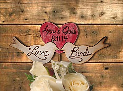 Rustic Love Birds Wedding Cake Topper Engraved Heart Personalized Lucky Bee Designs