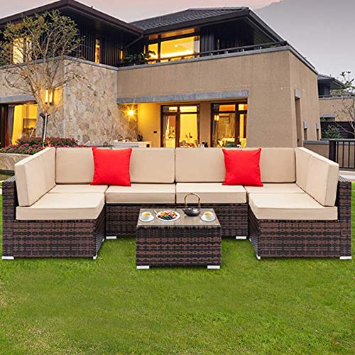 Tenozek 7 Pieces Outdoor Furniture Patio Sectional Sofa Wicker Patio Set All Weather PE Rattan Conversation Set(Brown, 6 Seats + Coffee Table) (Wicker Sectional Set)