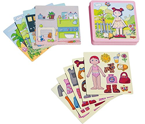 Toys Doll Haba (HABA Dress-up Doll Lilli Magnetic Game Box - 54 Magnet Pieces and 4 Backgrounds in a Sturdy Metal Tin)