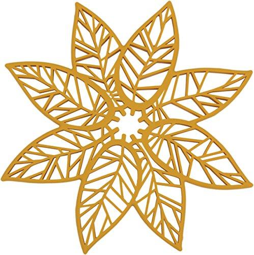 Rachael Ray Silicone Heat Resistant Multi-Use Leaf Design Trivet, Mustard