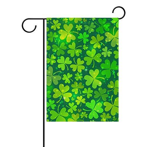 HUVATT Happy St Patricks Day Lucky Four Leaf Clover Garden Floral Yard Flag Banner for Outside House Flower Pot Double Side Print