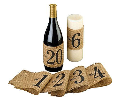 Lillian Rose Rustic Burlap Table Number Bottle Wraps -