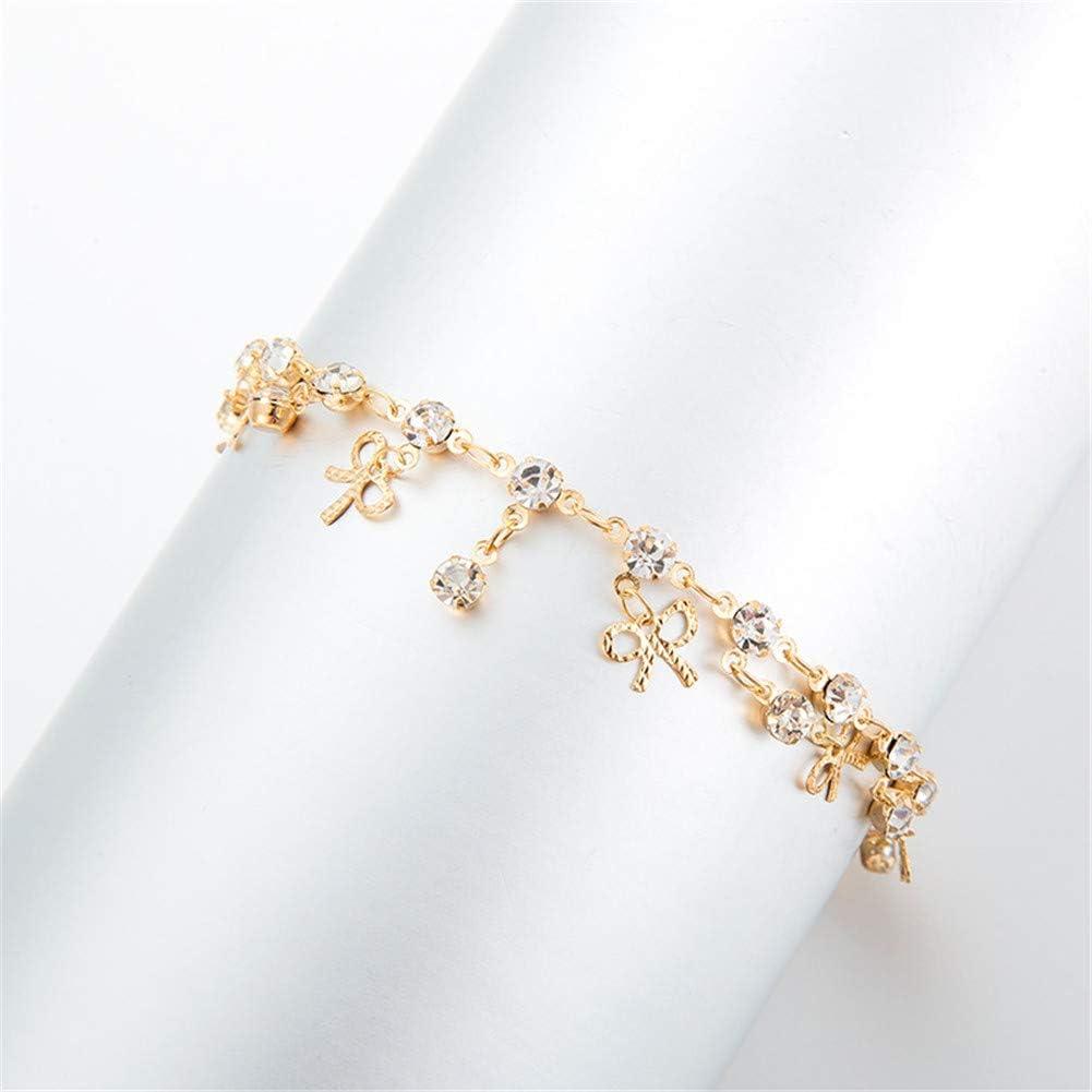 HXML Chaine De Cheville Simple Bow Diamant Pendentif Frange Cheville dor