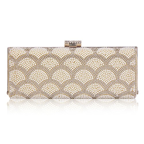 Clasp top Evening Womens Beads Gold Damara Bag Clutch Hardcase Interlaced 45PZZnqg