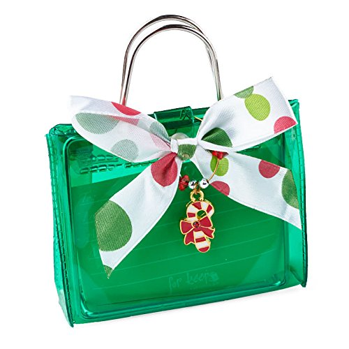 Candy Bag Charm - Package of Green Transparent Plastic Gift Card Holder Bags with Candy Cane Charm - 6 Bags