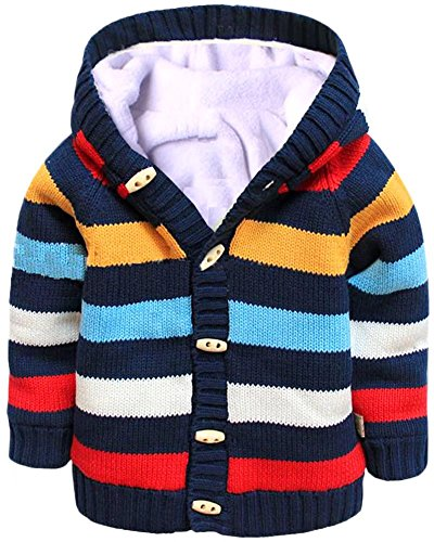 - Toddler & Baby Girls Boys Long Sleeves Button Down Sherpa Hooded Sweater Cardigan Outerwear with Rainbow Stripes, Age 12M-18M (12-18 Months) = Tag 4A