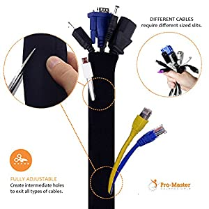 "PREMIUM 120"" Cable Management Sleeve with Free Zip Ties, Best Cords Organizer Wire Hider Protector for Desk TV PC Home Theater, DIY Adjustable Flexible Black and White Neoprene Cord Sleeves"