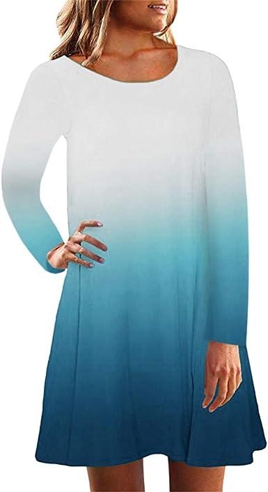 Vestido Degradado Mujer Vestidos Sueltos con Cuello Redondo Manga ...