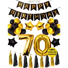 70th BIRTHDAY PARTY DECORATIONS KIT - 70th Happy Birthday Black Banner, 70th Gold Number Balloons,Gold and Black,70th Anniversary Event Number 70, Perfect 70 Years Old Party Supplies (Wall Decoration)