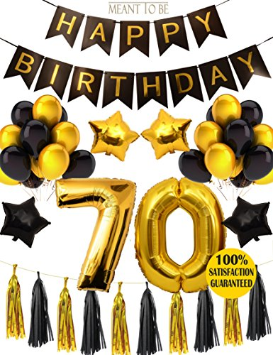 70th BIRTHDAY PARTY DECORATIONS KIT - 70th Happy Birthday Black Banner, 70th Gold Number Balloons,Gold and Black,70th Anniversary Event Number 70, Perfect 70 Years Old Party Supplies (Wall Decoration) ()