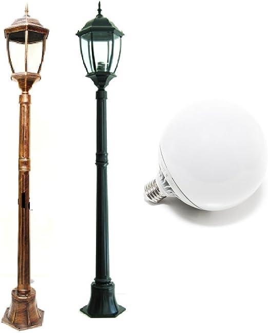 Farola moderno X exterior IP65 Altura 180 cm E27 Lámpara LED 18 W incluye 1500LM – Luz Blanco Cálido acabado aluminio blanco: Amazon.es: Iluminación