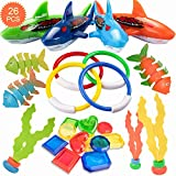 HENMI 26 Pack Diving Toy for Pool Use Underwater Swimming/Diving Pool Toy Rings, Toypedo Bandits,Stringy Octopus and Diving Fish with Under Water Treasures Gift Set Bundle,Ages 3 and Up