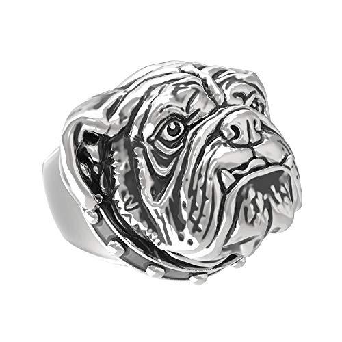 eejare Men's Stainless Steel Bulldog Pet Dog Ring (Silver, -
