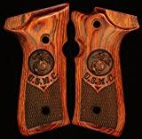 Beretta 92F 92FS 96F 96FS M9/M9A1/92A1 Custom Pistol Grips Rosewood Diamond Checkered Design with USMC Logo / US Marine Logo