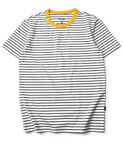 - Zengjo Stripe Shirt Men Short Sleeve Crew Neck Striped Cotton T Shirt Men (XL, White/Black)
