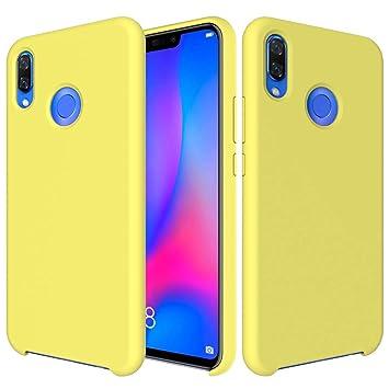 CoverTpu Funda Huawei P Smart Plus Silicona, Amarillo Funda Líquido de Silicona Gel TPU Flexible, Carcasa para Huawei P Smart Plus Anti-Rasguño y ...
