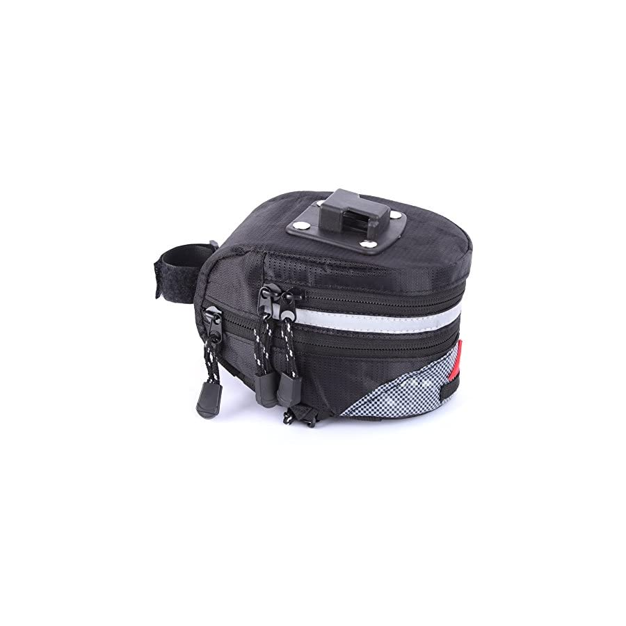 Bike Bag Under Seat 6 Inch Large Capacity Bicycle Strap on Waterproof Expabdable Bike Saddle Bag, Road Bike Wedge rear Bag