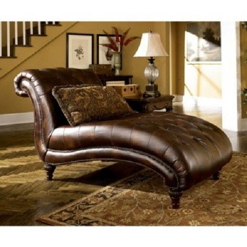 Ashley Furniture Signature Design – Claremore Chaise Lounge with 1 Accent Pillow – Grand Elegance – Antique Brown