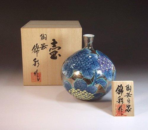 有田焼伊万里焼の高級陶器花瓶飾り壺|贈答品|ギフト|記念品|贈り物|紫陽花藤井錦彩 B00I9RTYV2