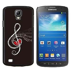 Cubierta protectora del caso de Shell Plástico || Samsung Galaxy S4 Active i9295 || Nota del amor de la música del corazón Dibujo Arte rojo del infinito @XPTECH