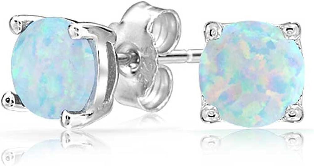 Azul Blanco Creado Opal Redondo Solitario Pendiente Boton Conjunto Cesta Juego Mujer 925 6Mm Octubre Piedra Nacimiento