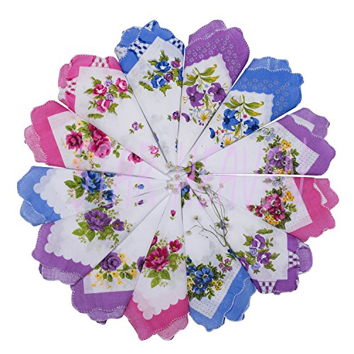Womens Vintage Hankies Floral Prints Handkerchief Bulk for Wedding Party by Star Heaven (6 PCS)