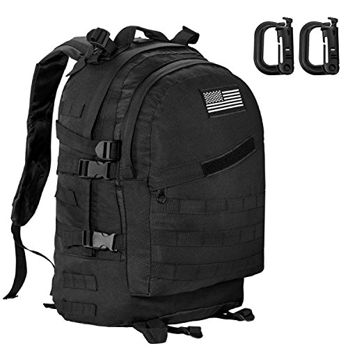 Aurosports Military Tactical Backpack 3 Day Assault Pack Molle Waterproof With Velcro Patch for Hiking Camping Trekking Hunting Travel, Black,40L/55L