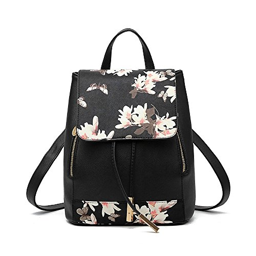 Backpack Students Female Large Capacity Backpack PU Floral Gold - 7