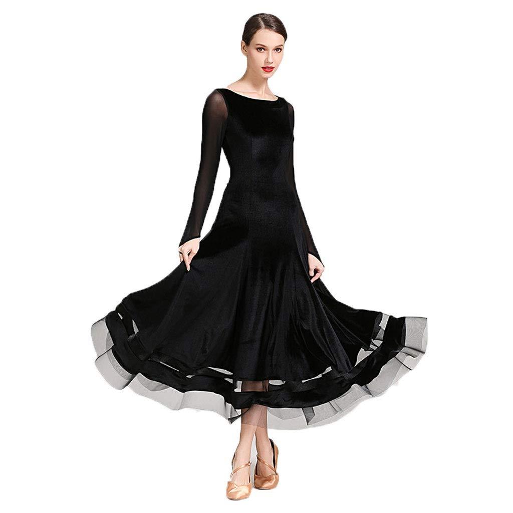 BLACK XL Korean Style Glitter Velvet Modern Dance Skirt Ballroom Dance Costume