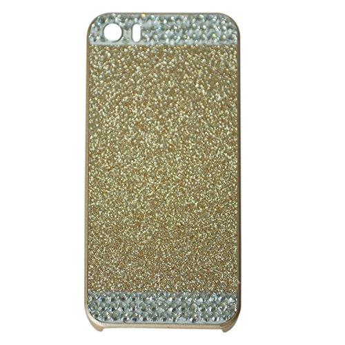 TOOGOO(R) 3D Brillante Brillo Centelleante Cristal Diamante de imitacion Cubierta caja dura para Apple iPhone5 / 5S-Dorado