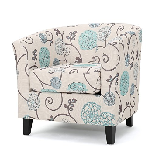 Palisades Barrel Fabric Club Chair White and Blue Floral