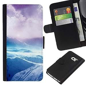 Samsung Galaxy S6 EDGE / SM-G925(NOT FOR S6!!!) Modelo colorido cuero carpeta tirón caso cubierta piel Holster Funda protección - Arctic Antarctic Riffs Cliff Purple