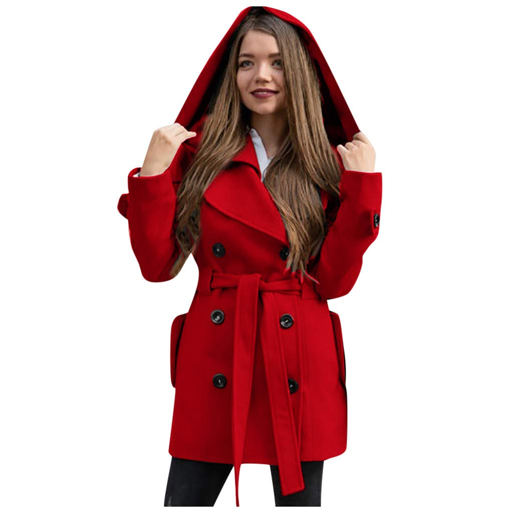 Eoeth Woolen Coat for Women,Fashion Winter Hooded Trench Solid Color Casual Double-Breasted Notched Lapel Sweatshirt Belt Red by Eoeth