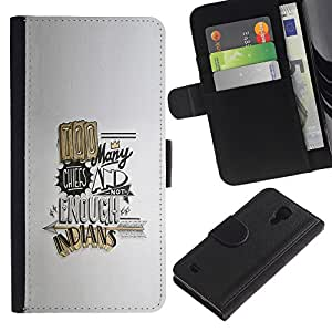 A-type (Cita divertida Demasiados cocineros Oro) Colorida Impresión Funda Cuero Monedero Caja Bolsa Cubierta Caja Piel Card Slots Para Samsung Galaxy S4 IV I9500