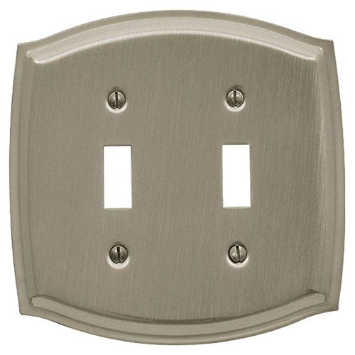 Baldwin 4766.150.CD Colonial Design Double Toggle Switch Plate, Satin Nickel
