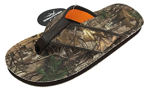 (Realtree Camo Flip Flop Sandals for Men, Woodsman Xtra Camouflage Northern Trail (Large Size 9-10, Camo Green))