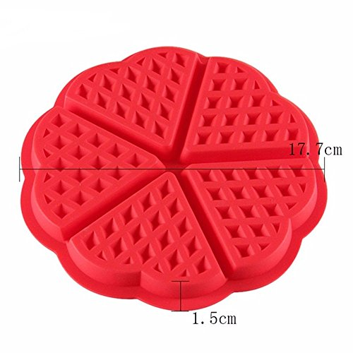 SuperStores Heart Shape Waffles Cake Mold Red Oven Muffin Mold For Cakes Silicone Bakeware Sweet Candy Jelly Chocolate Molds(Random Color)