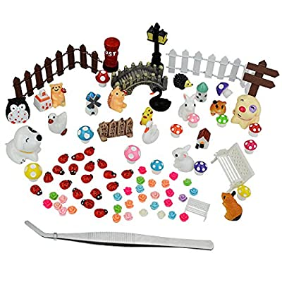 90 PCS Miniature Ornaments Kits Set with A Tweezer - Pistha Fairy Garden Dollhouse Decor