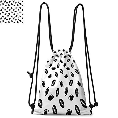 American Football Portable drawstring backpack Monochrome Pattern with Black Rugby Balls American Culture Sports Play For the gym W17.3 x L13.4 Inch Black White (Barton Rugby)