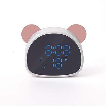 Reloj de alarma Panda Cartoon digital Reloj despertador HD LED termómetro espejo Regalo de la novia