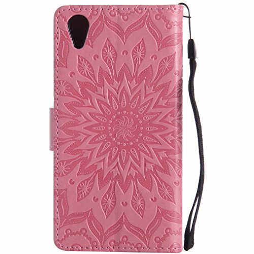 LEMORRY Sony Xperia X Performance Hülle Tasche Ledertasche Beutel Haut Schutz Magnetisch SchutzHülle Weich Silikon Cover Schale für Sony Xperia X Performance, Blühen Pink Rosa