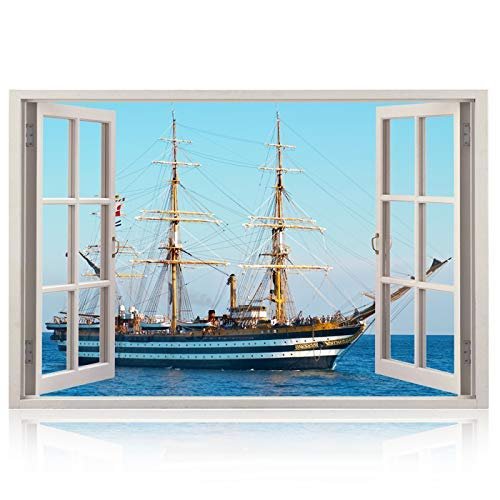 Realistic Window Wall Decal - Peel and Stick Nautical Decor for Living Room, Bedroom, Office, Playroom - Ship Wall Murals Removable Window Frame Style Ocean Wall Art - Vinyl Poster ()