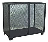 Jamco Products MA448-BL Stationary Mesh Security Cabinet with One Shelf, 36 x 48, Powder Coated Black