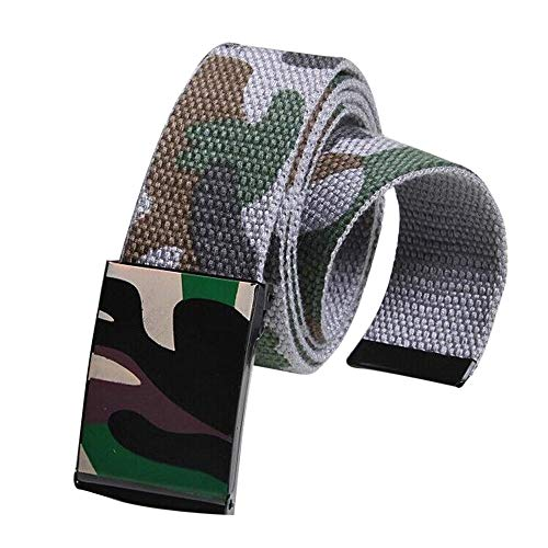 Toimothcn Mens Canvas Belt Adjustable Camouflage Belts with Automatic Square Buckle (Gray,One) ()