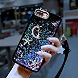 Case Star for Hua wei RedMi 4A, SevenPanda RedMi 4A Luxury Bling Moon Rhinestone Bumper Soft Rubber Cute Shiny Liquid Star Glitter Makeup Case for Girls With Crystal Neck Lanyard - Purple