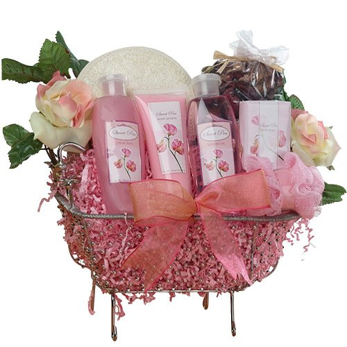 Art of Appreciation Gift Baskets Pretty In Pink Bathtub Rose Spa Bath and Body Gift Set
